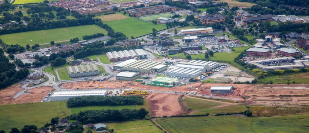 Aerial view of Beacon Business Park