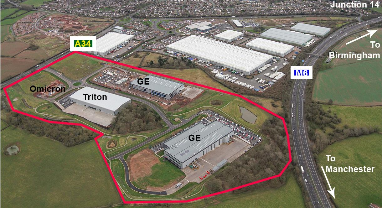 Aerial photograph of Redhill Business Park, Stafford