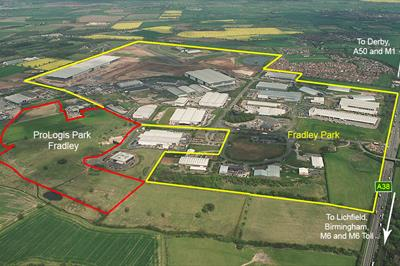 Aerial photograph showing ProLogis Park Fradley