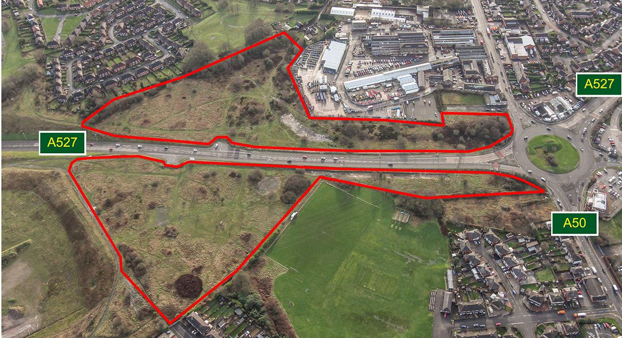 Aerial Photograph of the Tunstall Arrow development site Stoke-on-Trent